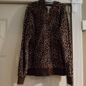 Other - Girls leopard print zip up hoodie